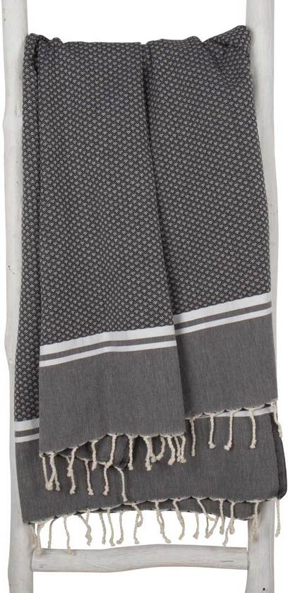 ZusenZomer Hamamdoek xl SOUSSE - 100% Katoen - 100x190cm - Zwart