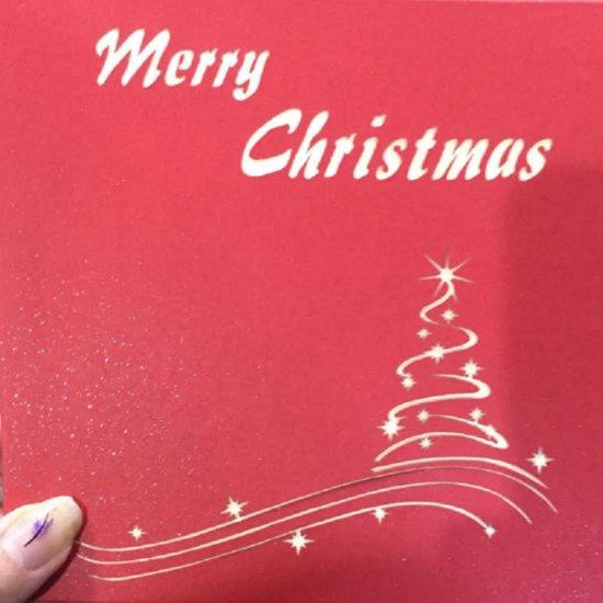 3-D- Kerstkaart- Rood- kerstboom