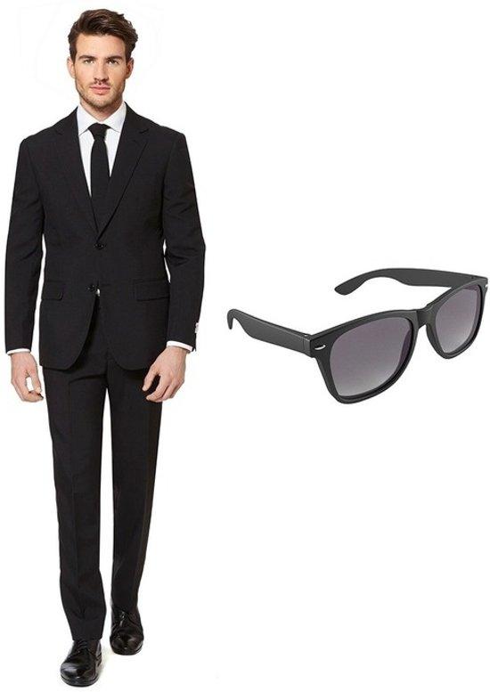 Kostuum Heren.Zwart Heren Kostuum Pak Maat 48 M Met Gratis Zonnebril