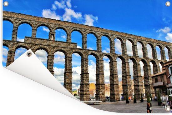 De historische twee laagse aquaduct van  het Spaanse Segovia Tuinposter 60x40 cm - klein - Tuindoek / Buitencanvas / Schilderijen voor buiten (tuin decoratie)