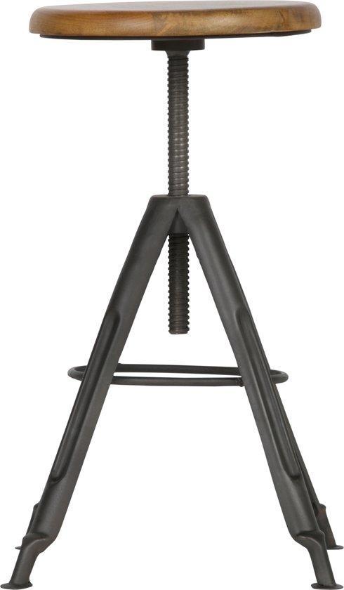 WOOOD Brenna Metalen Kruk - Met Houten Top - (47-72)x38x38