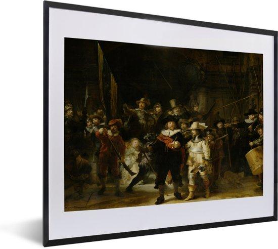Foto in lijst - De Nachtwacht - Schilderij van Rembrandt van Rijn fotolijst zwart met witte passe-partout 50x40 cm - Poster in lijst (Wanddecoratie woonkamer / slaapkamer)
