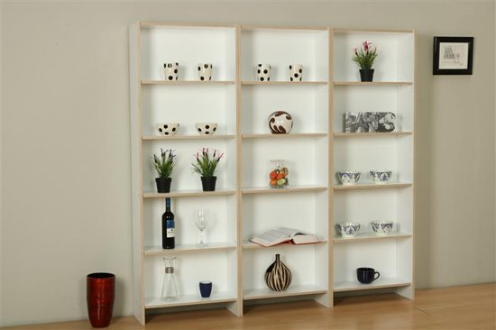tvilum section boekenkast met 12 planken in wit en eiken decor