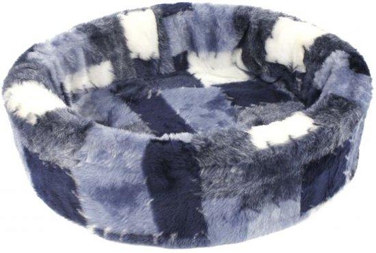 Petcomfort katten/hondenmand bont lapjesdeken blauw 46x40x13 cm