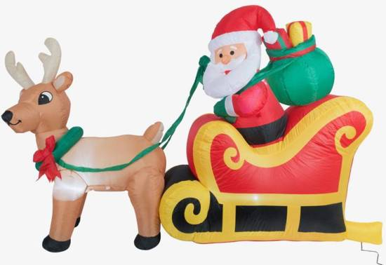 opblaasbare kerstman in slee met rendier met verlichting 180cm