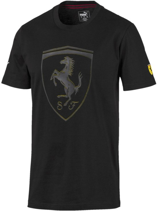 PUMA Scuderia Ferrari Big Shield Tee Shirt Heren - Puma Black - Maat M