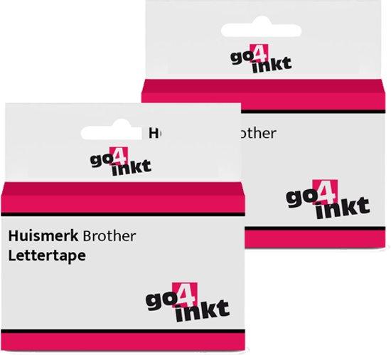 2x Go4inkt compatible met Brother letter tape cassette TZE-211 6mm Zwart-Wit