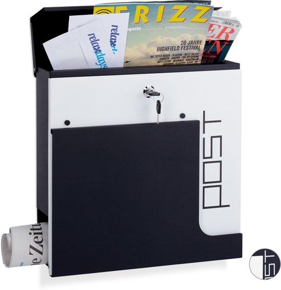 relaxdays design brievenbus met slot - krantenrol - A4 formaat wandmodel - wandbrievenbus zwart