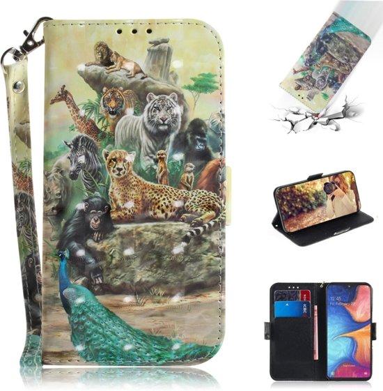 Let op type!! 3D gekleurde tekening dieren patroon horizontale Flip lederen case voor Galaxy A20e  met houder & card slots & portemonnee