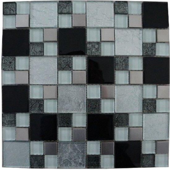 Zwart Wit Tegels.Mozaiek Tegel Zwart Wit Zilver