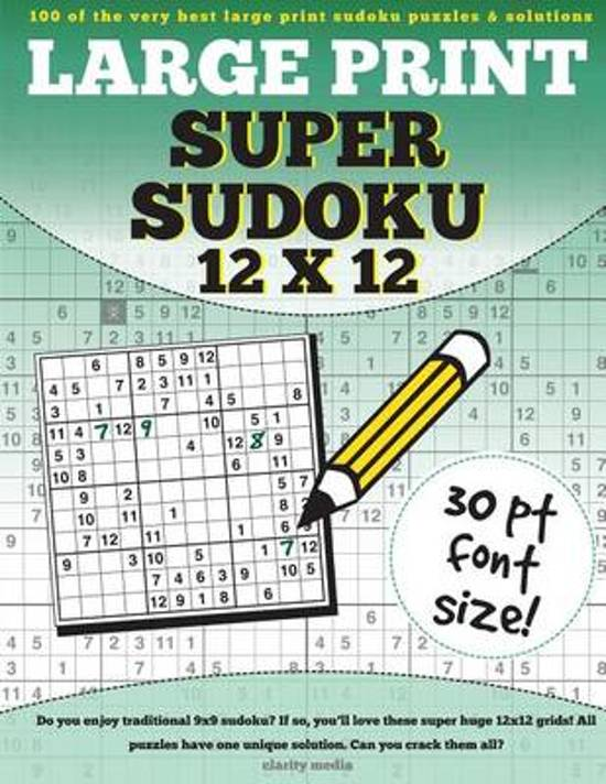 Bol Large Print Super Sudoku 12x12 Clarity Media
