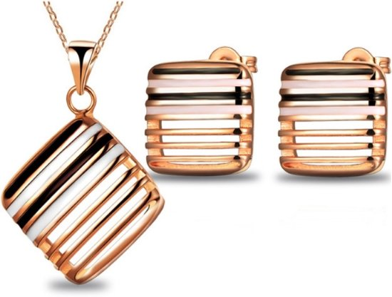 Fashionidea - Mooie goudkleurige ketting set met oorbellen de Perfect Square Set Gold
