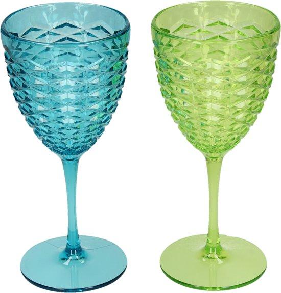 Brandani Plastic Drinkglazen – Groen en Blauw – 9x9x19 cm – 2 Stuks | Drink Glazen | Drink Beker | Drinkglas | Onbreekbaar Wijnglas | Cocktailglas | Drinkbeker | Feest