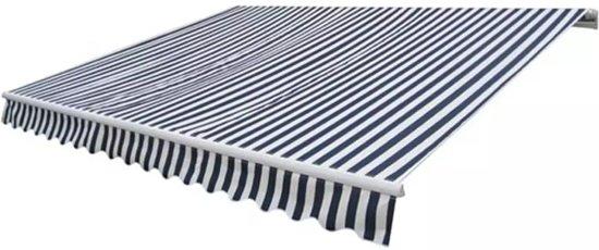 vidaXL Luifel uitschuifbaar 300 cm marineblauw en wit