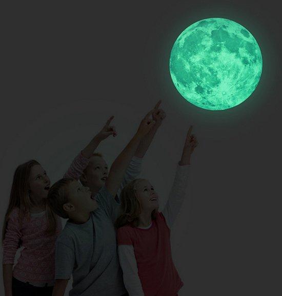 Glow in the dark maan Muursticker