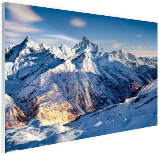 Zonsondergang alpen Glas 60x40 cm - Foto print op Glas (Plexiglas wanddecoratie)