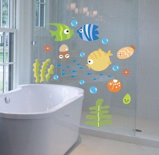 bol.com | Muursticker badkamer kleurrijk met visjes / Eco ...