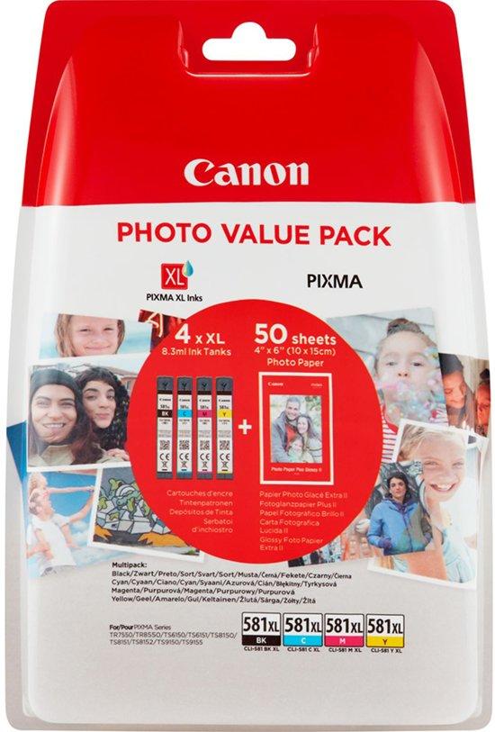 Canon CLI-581XL - XL Inktcartridge multipack - Zwart / Cyaan / Magenta / Geel