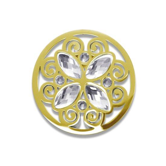 LOCKits 982501869 - stalen munt - fantasie - kristallen - Ø 33-2 mm - goudkleurig