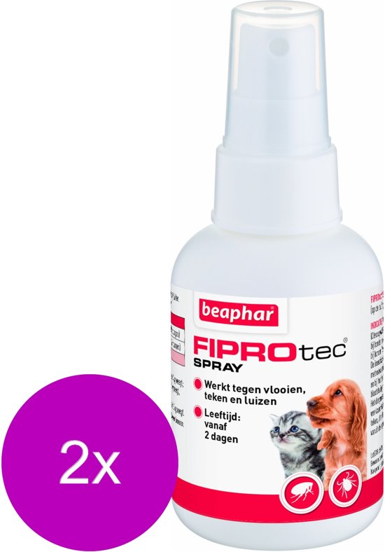 Beaphar Fiprotec Spray - Anti vlooien en tekenmiddel - 2 x 100 ml