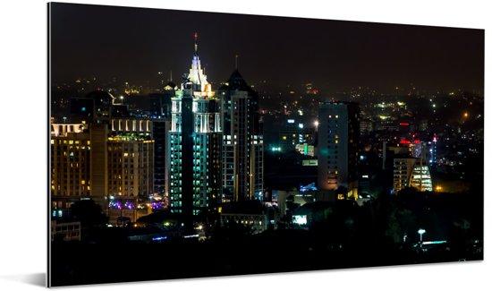 Gebouwen in de avond in Bangalore zijn verlicht Aluminium 40x20 cm - Foto print op Aluminium (metaal wanddecoratie)