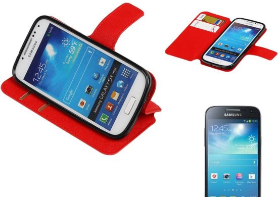 Croco Pattern Bookstyle Hoes voor Galaxy S4 mini i9190 Rood in Spermalie