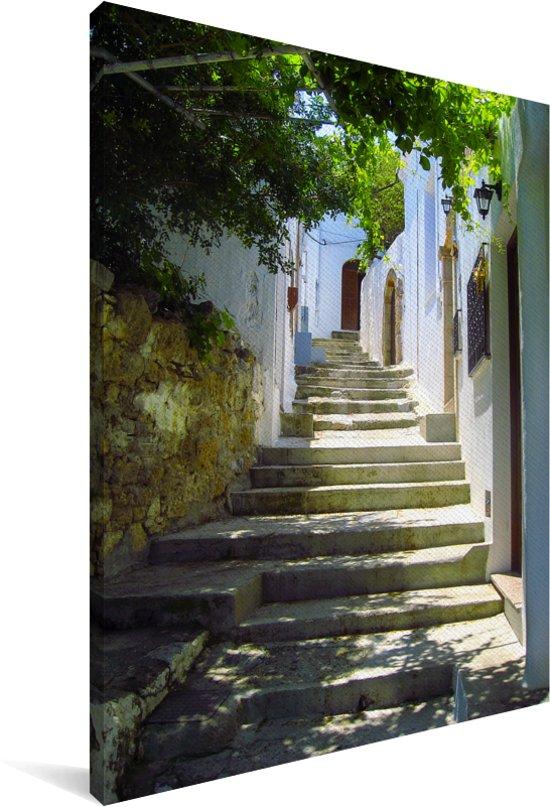 Prachtige trappen in de straten van de Oude stad van Rhodos Canvas 90x140 cm - Foto print op Canvas schilderij (Wanddecoratie woonkamer / slaapkamer)