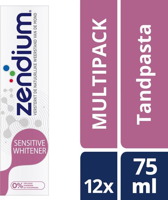 Zendium Sensitive Whitener - 75 ml - Tandpasta - 12 stuks - Voordeelverpakking
