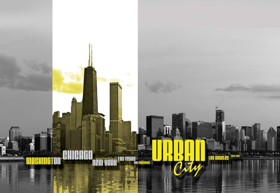 Fotobehang City Skyline | XL - 208cm x 146cm | 130g/m2 Vlies