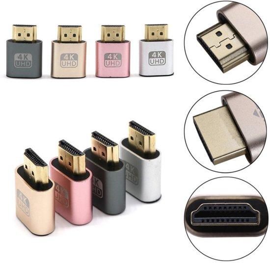 HDMI Dummy Plug 1.4 DDC EDID 4K Display Emulator Virtual Display Adapter - grijs