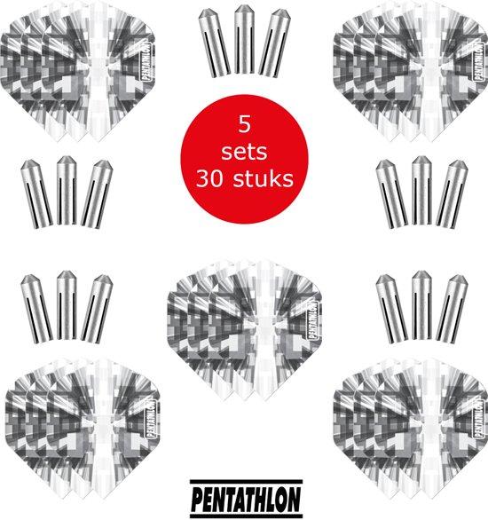 Dragon Darts - 5 sets (15 stuks) Pentathlon Explosion - darts flights - super stevig - zwart - dartflights - dart flights - inclusief 15 stuks - flight protectors