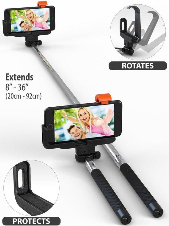 KJstar - Selfie Stick Draadloos Met Bluetooth voor iPhone 8 / 7 / 6 / 6S / SE / 5S / 5C - Zwart