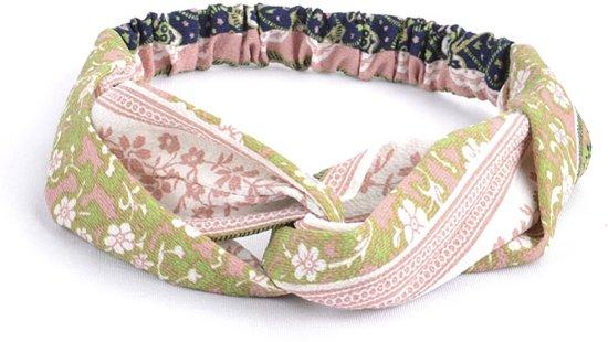 Haarband Print   Bloem Roze - Groen - Blauw   Elastische Bandana   Fashion Favorite