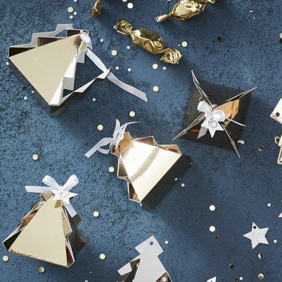 Gouden kerstboom advent doosjes (24 stuks) Valentinaa