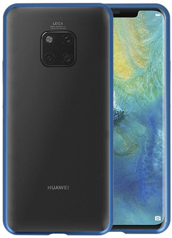 Magnetic Back Cover voor Huawei Mate 20 Pro Blauw - Transparant
