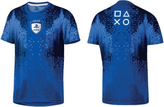 Playstation - League 8 Bit Men T-Shirt - Blauw - Maat XL