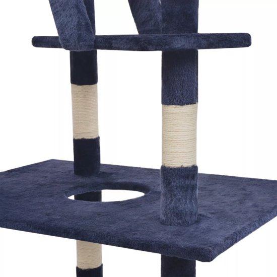 vidaXL Kattenkrabpaal met sisal krabpalen 230-260 cm donkerblauw