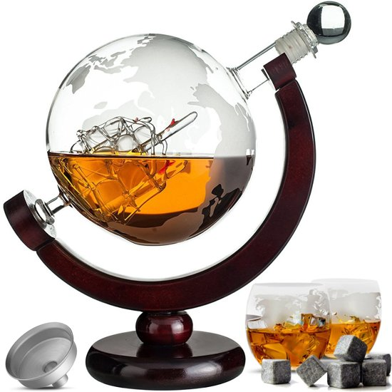 Luxe Whiskey Karaf Set - Wereldbol Decanteerkaraf - 8 Whisky Stones - Schenktuit