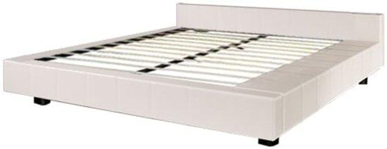 Vidaxl futon bed wit 180 x 200 cm - Wit lederen bed ...