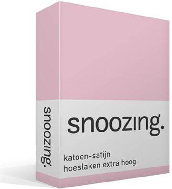 Snoozing - Katoen-satijn - Hoeslaken - Extra Hoog - Lits-jumeaux - 160x220 cm - Roze