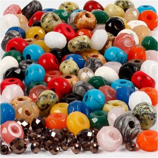 Facetkralen, afm 4x6 + 8x14 mm, gatgrootte 1-4 mm, diverse kleuren, 1set, circa 372 stuk