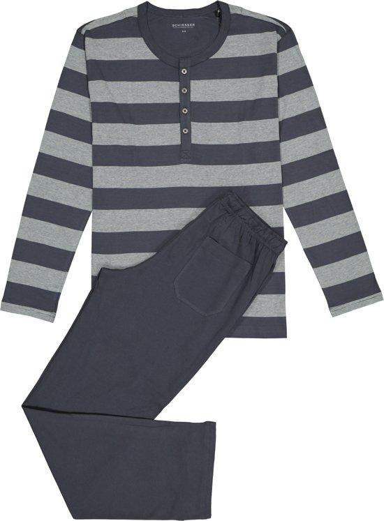 f55babb9ddf bol.com | Schiesser Pyjama Blauw/Grijs - Maat 54
