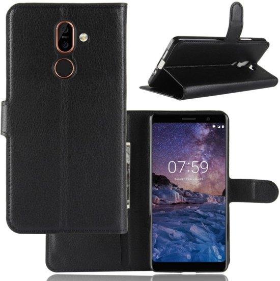 Nokia 7 Plus - Flip hoes, cover, case - TPU - PU Leder - Zwart