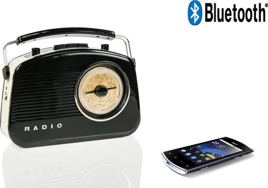 König - Retroradio met Draadloze Bluetooth - Zwart