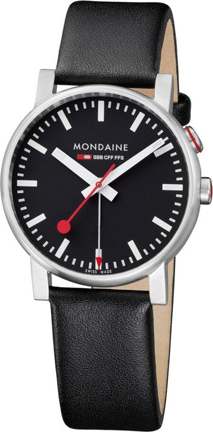 Mondaine A468.30352.14SBB Horloge - Leer - Zwart - 40 mm