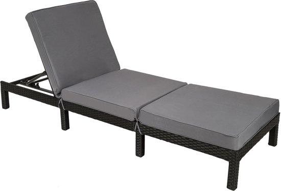 bol com   TecTake   Wicker ligstoel zwart   ligbed voor tuin   402307