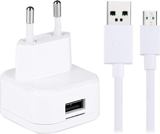 1-poorts hoge compatibiliteit USB-oplader met originele OPPO snelladende micro USB-kabel, voor OPPO R9 Plus / R7 Plus / N3 / R5 / U3 / R7S telefoon, EU Plug & # 160; (wit)