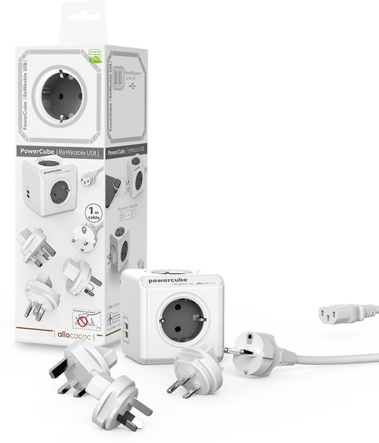 PowerCube Rewireable Duo USB Grijs multifunctionele wereld reisstekker travel adapter