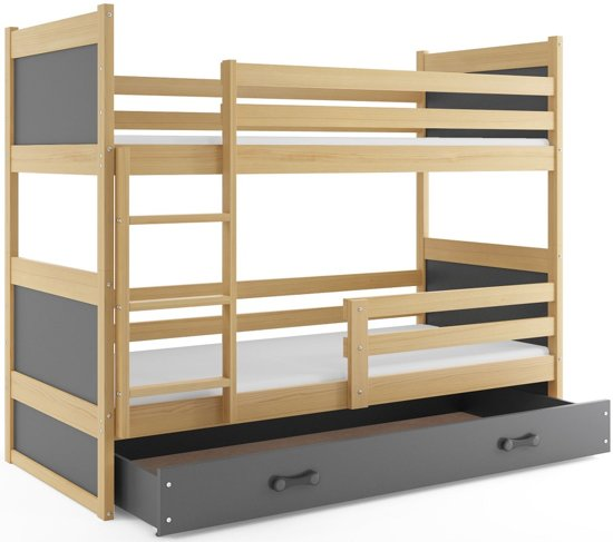 3 Persoons Stapelbed Hout.Peuter Stapelbed Grijs 80x160 Cm Inclusief Lade Tuv Getest