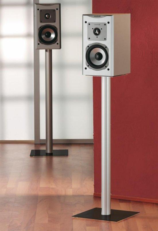 Speakerstandaard set van 2 Boxero Mini aluminium / zwart glas